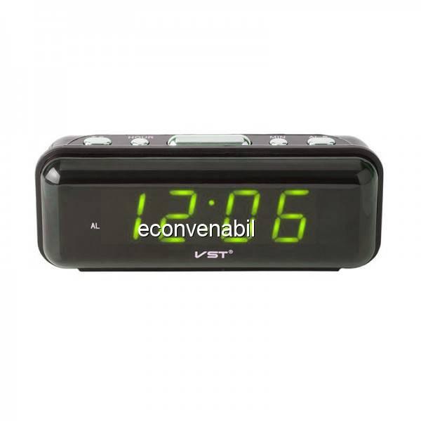 Ceas Digital Display LCD Verde, Alarma si Functie Memorare Ora VST738 foto mare
