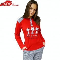 Pijama Dama Maneca/Pantalon Lung, Bumbac Interlock, Model Sister Cats, Cod 1088