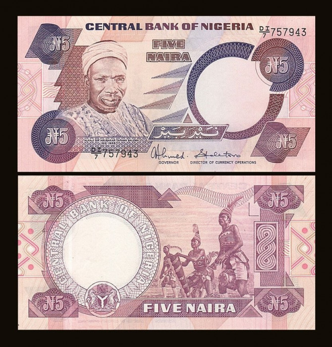 Nigeria 1983 - 5 naira UNC foto mare
