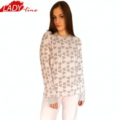 Pijama Dama Maneca/Pantalon Lung, Bumbac Interlock, Model Joy Of Love, Cod 1053