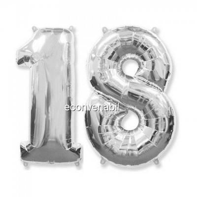 Balon Jumbo Cifra 100cm din folie metalizata Argintie de la 0 la 9 foto