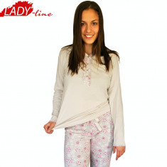 Pijama Dama Maneca/Pantalon Scurt, Model Sweet Dreams, Bumbac 100%, Cod 1218