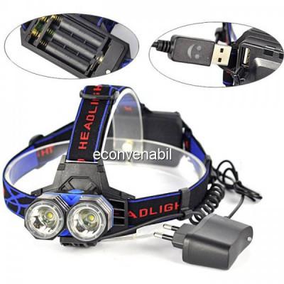 Lanterna Frontala Pescuit cu USB, LEDuri 3W si Acumulatori MXK83T6 foto