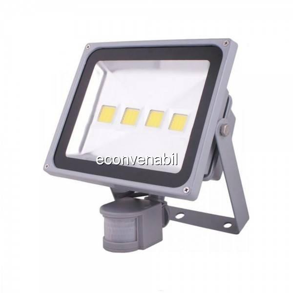 Proiector LED 200W cu Senzor Miscare Alb Rece 220V 4x50W foto mare