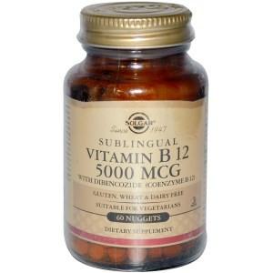 SUPLIMENT ALIMENTAR - Vitamin B12 Sublingual, 5000 mcg, Solgar, 60 Nuggets foto