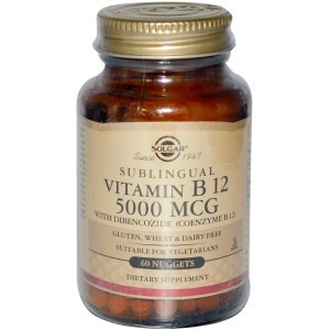 SUPLIMENT ALIMENTAR - Vitamin B12 Sublingual, 5000 mcg, Solgar, 60 Nuggets foto mare