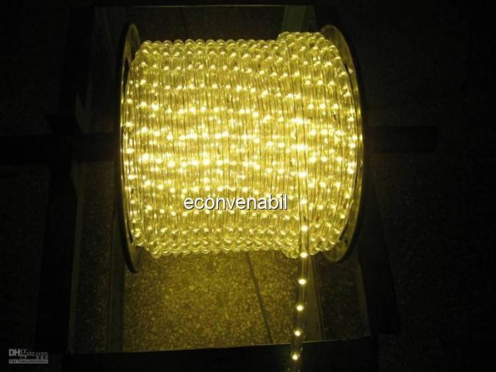 Furtun Luminos cu 3600 LED Lumina Galbena Rola 100m foto mare