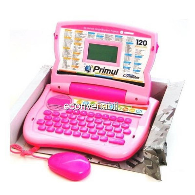 Laptop Bilingv Copii Romana Engleza Primul Meu Computer Roz 120 Functii foto