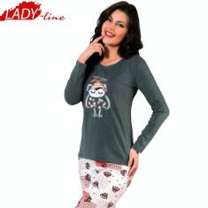 Pijama Dama Maneca/Pantalon Lung, Model Sleepy Owl, Brand Sexen Woman, Cod 883
