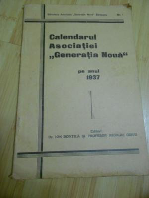 CALENDARUL ASOCIATIEI GENERATIA NOUA PE ANUL 1937 foto