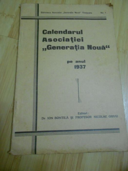 CALENDARUL ASOCIATIEI GENERATIA NOUA PE ANUL 1937 foto mare
