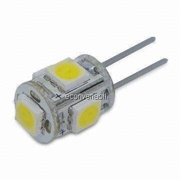 Bec LED 1W 5 LEDuri SMD Bulb G4 Alb Rece foto mare