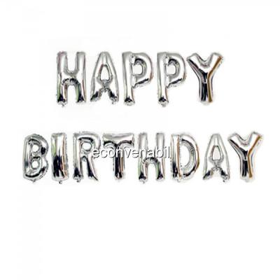 Set 13 Baloane Jumbo 40cm din folie metalizata Argintie Happy Birthday foto