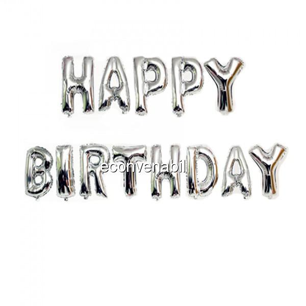 Set 13 Baloane Jumbo 40cm din folie metalizata Argintie Happy Birthday foto mare