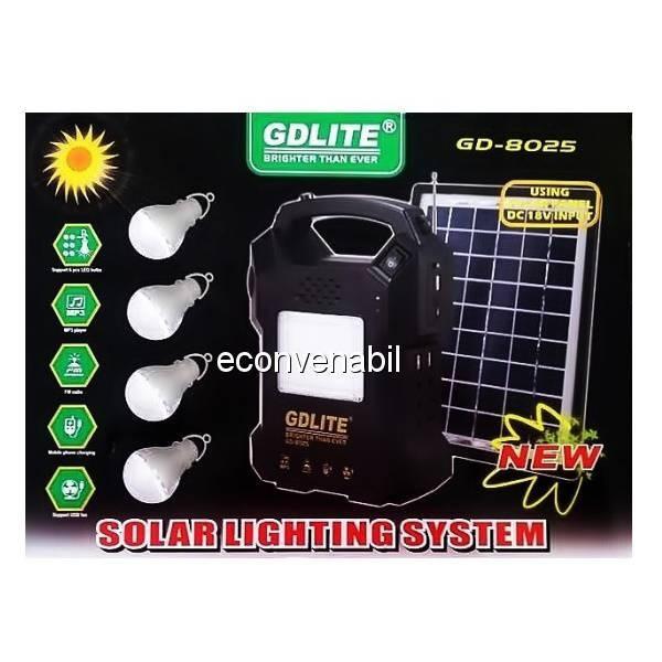 Kit Panou Solar 18W cu Lanterna, 4 Becuri si RadioFM Gdlite GD8025 12V4Ah foto mare