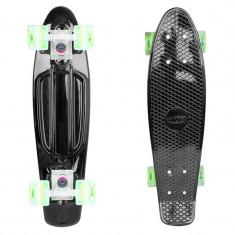 Penny Board, 56 cm, roti silicon cu lumini, negru, 22