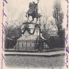 BUCURESTI STATUIA MIHAI VITEAZUL DIN BUCURESTI CLASICA CIRCULATA 1900 - Carte Postala Muntenia pana la 1904, Printata