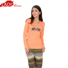 Pijama Dama Din Bumbac Interlock, Vienetta Secret, Model Visit To India, Cod 635