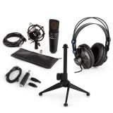 AUNA MIC-920B, set de microfon usb V2, microfon condensator, căști, suport de masă, filtru pop