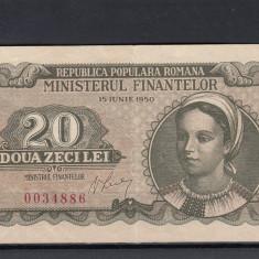 ROMANIA 1950 BANCNOTA 20 LEI XF SEMNATURA V. LUCA - Bancnota romaneasca