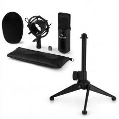 AUNA CM00B, set de microfon V1, microfon negru de studio cu păianjen, stativ de masă - Echipament karaoke