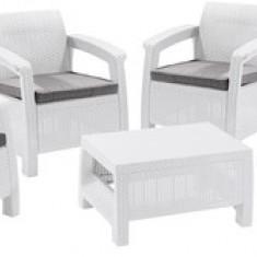 Set patru fotolii cu perne si masuta alb-gri rece Corfu Quattro CURVER