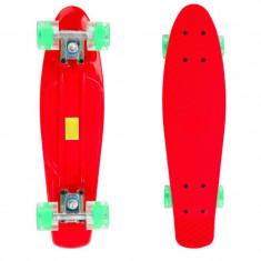 Penny Board, 56 cm, roti silicon cu lumini, rosu, 22