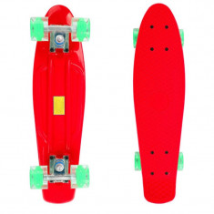Penny Board, 56 cm, roti silicon cu lumini, rosu - Skateboard