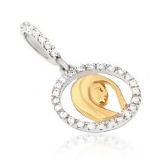 Pandantiv din aur - contur medalion cu zirconii, cap de femeie - Pandantiv aur