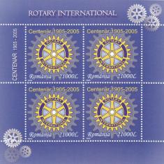 CENTENAR ROTARY BLOC, 2005,MNH, ROMANIA.