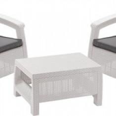 Set mobilier terasa rattan alb-gri rece Corfu Weekend CURVER - Set gradina