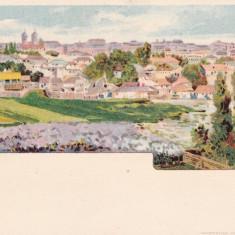 BUCURESTI VEDERE GENERALA LITOGRAFIE CIRCULATA 1901 K. U. K. POSTA MILITARA - Carte Postala Muntenia pana la 1904, Printata