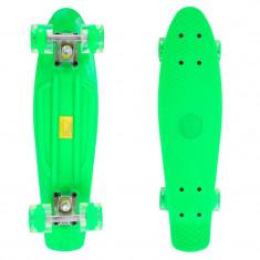 Penny Board, 56 cm, roti silicon cu lumini, verde - Skateboard