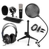 AUNA CM003, set de microfon V2, microfon condensator, convertor USB, căști, suport de microfon
