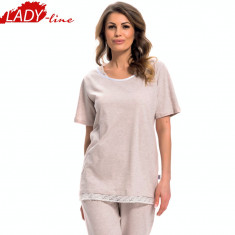 Pijama Dama Marimi Mari, Model Sweet Touch, Brand DN Nightwear, Cod 1244 - Pijamale dama, Marime: XXL, XXXL, Culoare: Bej