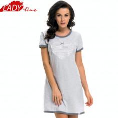 Camasa de Noapte Cu Maneca Scurta, Brand DN Nightwear, Model Heart&Soul, Cod 1262, Marime: L, Culoare: Gri