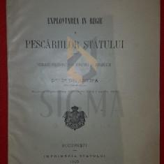 GRIGORE ANTIPA (DOCTOR), EXPLOATAREA IN REGIE A PESCARIILOR STATULUI, BUCURESTI, 1905
