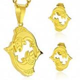 Set auriu din oțel 316L - pandantiv și cercei, semn zodiacal PEȘTI - Cercei inox