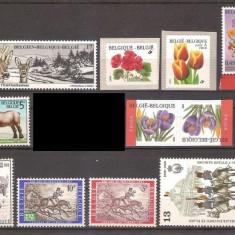 Belgia, lot 9 serii complete, fauna si flora, MNH - Timbre straine, Stampilat