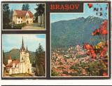 CPI (B8811) CARTE POSTALA - BRASOV: PRIMA SCOALA ROMANEASCA, BISERICA SF. NICOLA, Circulata, Fotografie