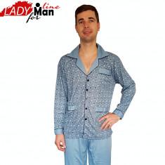 Pijama Barbati cu Nasturi, Model Clasic Blue, Brand Dehai-T, Cod 754