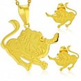 Set auriu din oțel 316L - pandantiv și cercei, semn zodiacal LEU - Cercei inox
