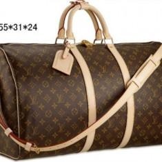 Geanta bagaj Louis Vuitton monogram canvas Keepall - Super Promotie! - Geanta Dama Louis Vuitton, Culoare: Maro, Marime: Medie, Geanta sport, Asemanator piele