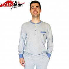 Pijama Barbati, Model Deep Gray, Bumbac Interlock, Cod 1330 - Pijamale barbati, Marime: L, XL, Culoare: Gri