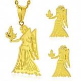 Set auriu din oțel 316L - pandantiv și cercei, semn zodiacal FECIOARĂ - Cercei inox