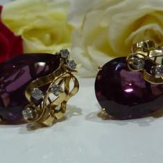 Cercei aur 14k cu safire si diamante - Cercei cu diamante