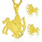 Set auriu din oțel 316L - pandantiv și cercei, semn zodiacal SĂGETĂTOR - Cercei inox