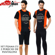Pijama Barbati, Set 2 Perechi Pantaloni, Pantalon 3/4 si Pantalon Lung, Cod 1291 - Pijamale barbati, Marime: M, L, Culoare: Din imagine