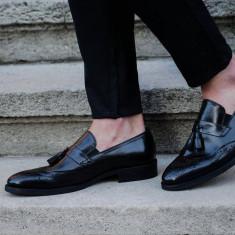 Pantofi Exclusive Loafer COD: TOP-2. NEW COLLECTION - Pantofi barbat, Marime: 38, 39, 41, 43, Culoare: Negru, Piele naturala, Eleganti