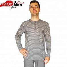 Pijama Barbati Din Bumbac Obtinut Din Fibre Naturale, Model Gray Victory, Cod 1325 - Pijamale barbati, Marime: M, L, XL, Culoare: Gri
